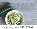 Zucchini Noodles Over A Table