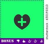 health hearth cross icon flat....