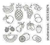fruit icons  thin monochrome... | Shutterstock .eps vector #650193874