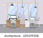 office design modern with desk...   Shutterstock .eps vector #650199208