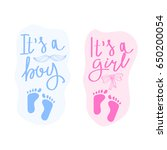 lettering it is a boy and it is ... | Shutterstock .eps vector #650200054