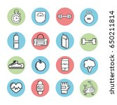 healthy lifestyle tools icons... | Shutterstock .eps vector #650211814