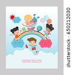 education kids and rainbow ...   Shutterstock .eps vector #650212030