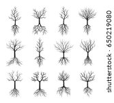 black naked trees and roots.... | Shutterstock .eps vector #650219080
