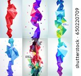 vector set of faceted 3d... | Shutterstock .eps vector #650220709