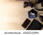top view gaming gear  mouse  ...   Shutterstock . vector #650223394