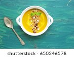 pumpkin soup with granola on a... | Shutterstock . vector #650246578