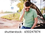 driver on the road having... | Shutterstock . vector #650247874