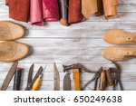 set of cobbler tools and a lot... | Shutterstock . vector #650249638