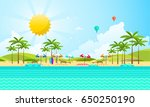 flat vector design of beach... | Shutterstock .eps vector #650250190