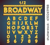 yellow 'broadway' font with