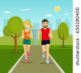 cheerful couple friends running ... | Shutterstock .eps vector #650280400