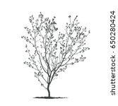 spring tree silhouette. | Shutterstock .eps vector #650280424