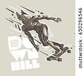 downhill skateboard racing.... | Shutterstock .eps vector #650296546