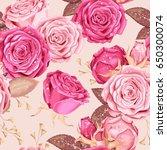 beautiful roses seamless   Shutterstock .eps vector #650300074