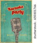 karaoke retro party invitation... | Shutterstock .eps vector #650301766