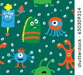 seamless pattern with a cartoon ... | Shutterstock . vector #650309314