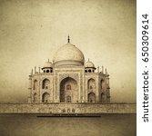 vintage image of taj mahal at... | Shutterstock . vector #650309614