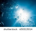 bubbles in underwater and sun... | Shutterstock . vector #650315014
