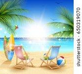 beautiful tropical beach cartoon | Shutterstock .eps vector #650319070