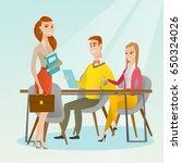 caucasian business partners...   Shutterstock .eps vector #650324026