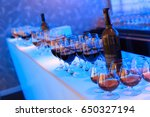 wine bottles and glasses with...   Shutterstock . vector #650327194