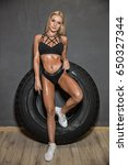 fitness girl exercising with... | Shutterstock . vector #650327344