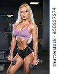 fitness girl exercising with... | Shutterstock . vector #650327374