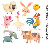 Stock vector collection of cartoon farm animals vector set of animal icons isolated on white vector 650329849