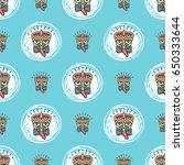 tiki seamless pattern... | Shutterstock .eps vector #650333644