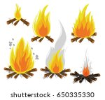 set of cartoon bonfires on... | Shutterstock .eps vector #650335330