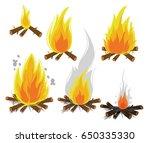 set of cartoon bonfires on... | Shutterstock .eps vector #650335330