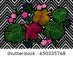 tropical embroidery flower...   Shutterstock .eps vector #650335768