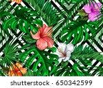 print summer exotic jungle... | Shutterstock .eps vector #650342599