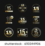 15th anniversary logo set with... | Shutterstock .eps vector #650344906
