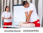 cpr class with instructors... | Shutterstock . vector #650344990