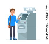 man customer standing near atm... | Shutterstock .eps vector #650348794