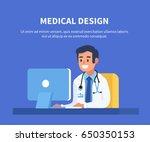 doctor working at office desk... | Shutterstock .eps vector #650350153