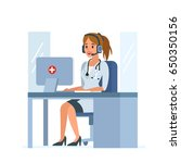 medical call center operator at ... | Shutterstock .eps vector #650350156