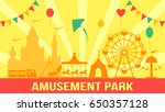 amusement park in flat vector... | Shutterstock .eps vector #650357128