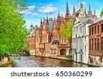 medieval town bruges in belgium.... | Shutterstock . vector #650360299