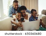 parents and kids using laptop ... | Shutterstock . vector #650360680