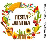 festa junina cartoon background ... | Shutterstock . vector #650369890