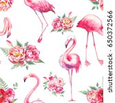 watercolor flamingo and flowers ... | Shutterstock . vector #650372566