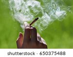 marijuana joint in the hand ... | Shutterstock . vector #650375488