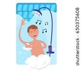 happy man singing and taking... | Shutterstock .eps vector #650375608