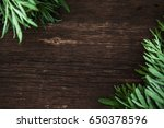 green grass on a wooden... | Shutterstock . vector #650378596