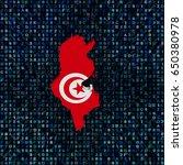 tunisia map flag on hex code... | Shutterstock . vector #650380978