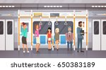 people passangers in subway car ... | Shutterstock .eps vector #650383189