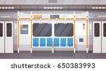 empty subway car interior... | Shutterstock .eps vector #650383993